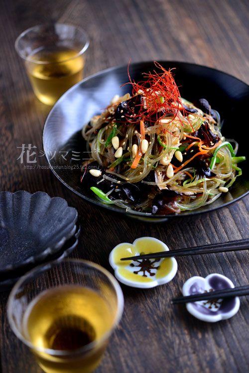 """チャプチェ - Korean vegetable Noodle""""japchae"""""""