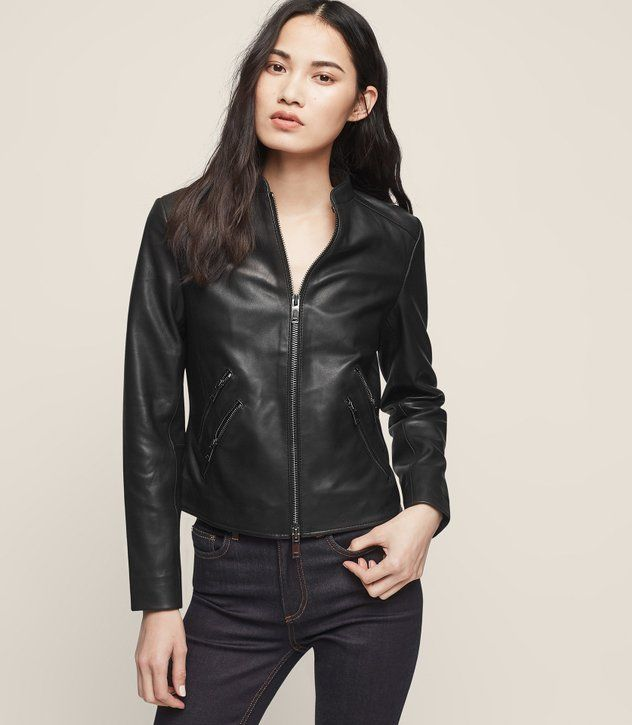REISS - THEA COLLARLESS LEATHER JACKET
