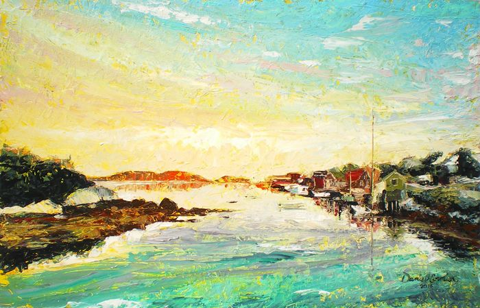 Return to Shaw's Landing (2015) 22x13.5 Oil on Board by Daniel Cormier My 2012 Sunset on Shaw's Landing was so incredibly popular that I had planned to re-paint it and make it available once more. Here it is - now a bit larger, and more attention to the village and boats on the right we're back to Shaw's landing at sunset. This is the view from a little lobster restaurant I visited with friends, painted in palette knife only. For Sale on Etsy: https://www.etsy.com/ca/listing/241555255/return