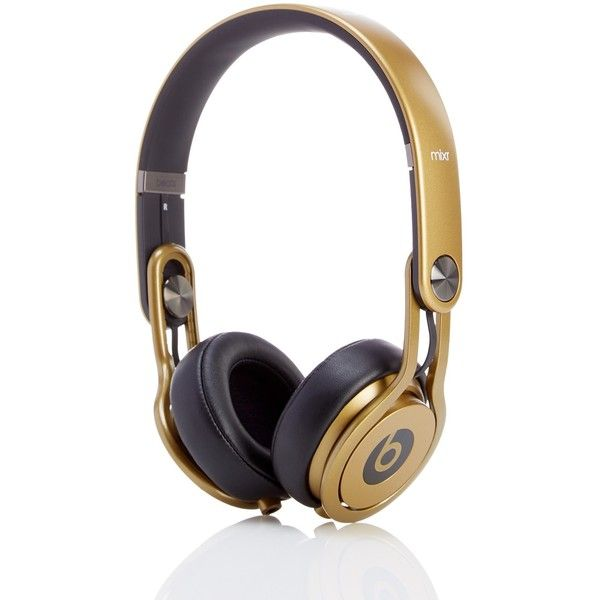Beats Headphones Gold Beats Mixr Headphones (1.080 VEF) ❤ liked on Polyvore featuring accessories, tech accessories, gold and gold headphones