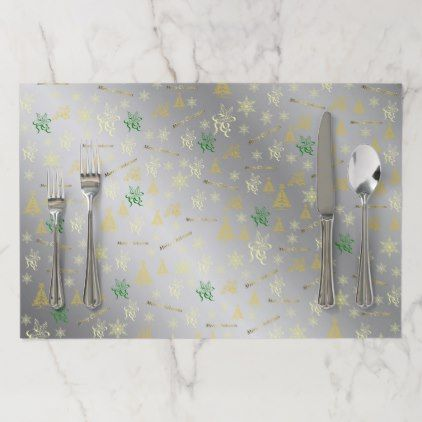 silver and gold merry christmas text paper placemat - Xmas ChristmasEve Christmas Eve Christmas merry xmas family kids gifts holidays Santa
