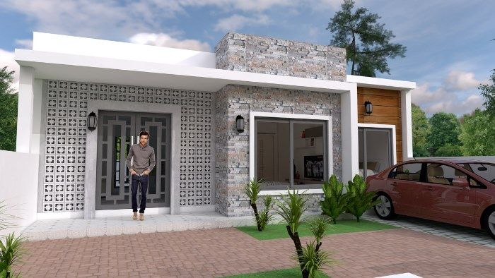 Modern Style Single Storey House With Two Bedrooms And Two Bathrooms Cool House Concepts Simple House Design Simple House House Design