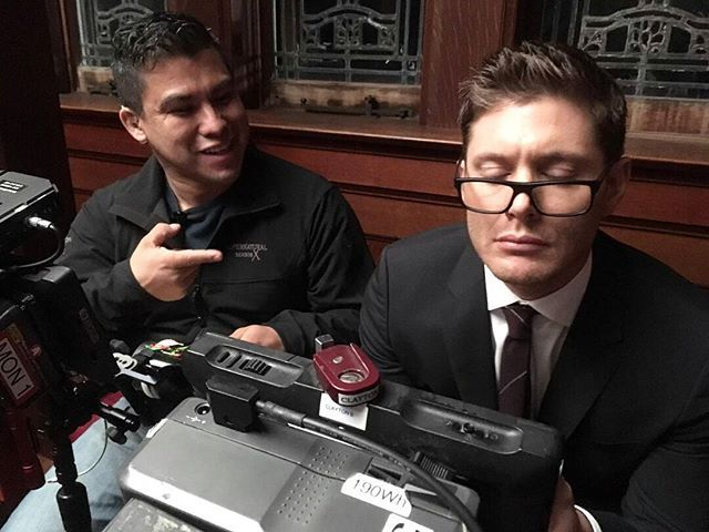 Behind the scenes. Jensen and Jose.