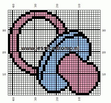 Pacifier Baby Cross Stitch or Perler Bead Pattern