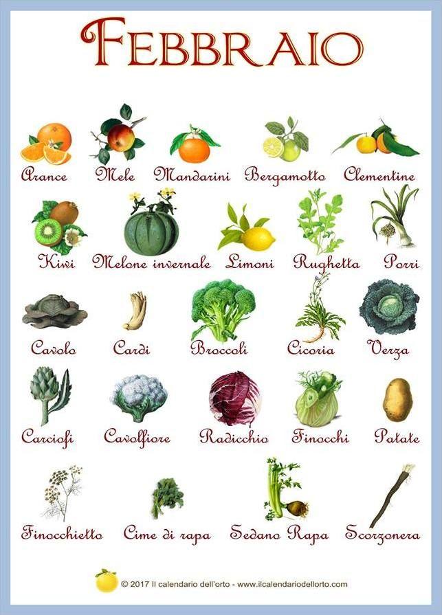febbraio frutta e verdura di stagione