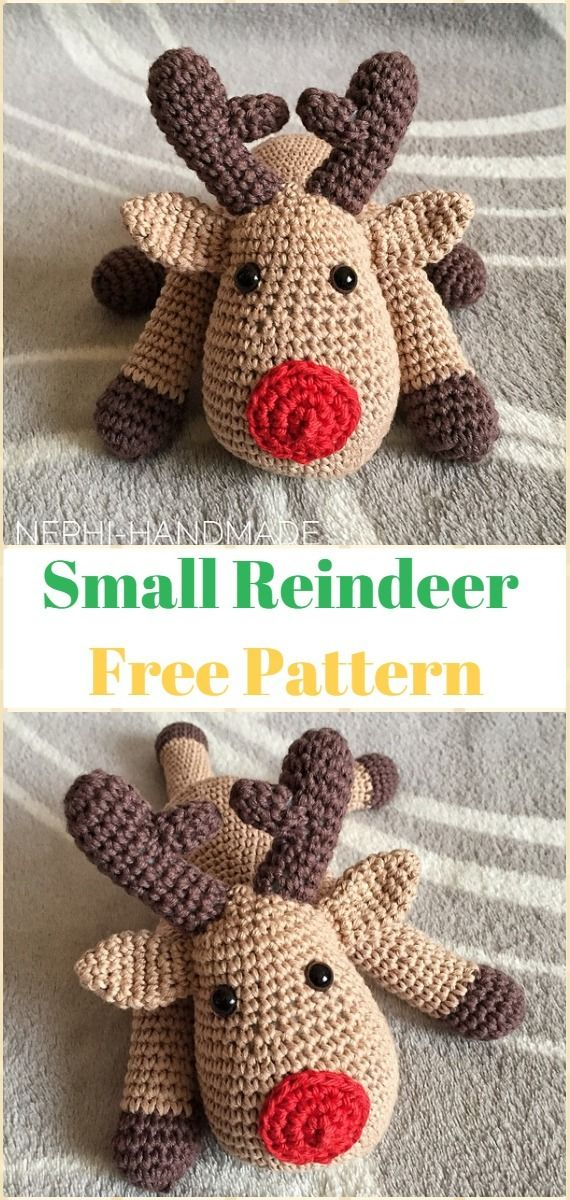 Crochet Small Reindeer Softies Free Pattern - Crochet Amigurumi Deer Toy Softies Free Patterns