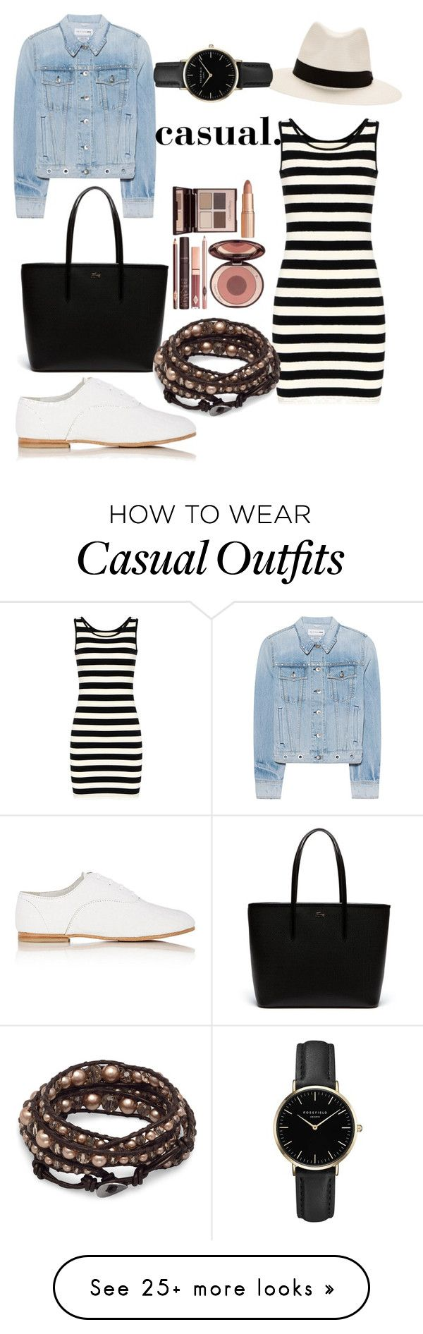 """casual spring look."" by nolica on Polyvore featuring rag & bone, Lacoste, Charlotte Tilbury, ROSEFIELD, casual, denimjacket and springlook"