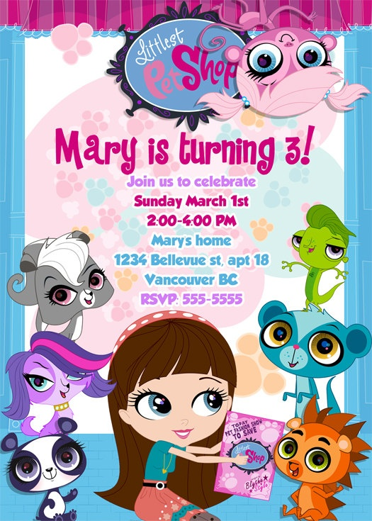 Littlest Pet Shop Birthday Invitations / Birthday Party card - Digital Printable File - All animals and Blythe. $9.99, via Etsy.