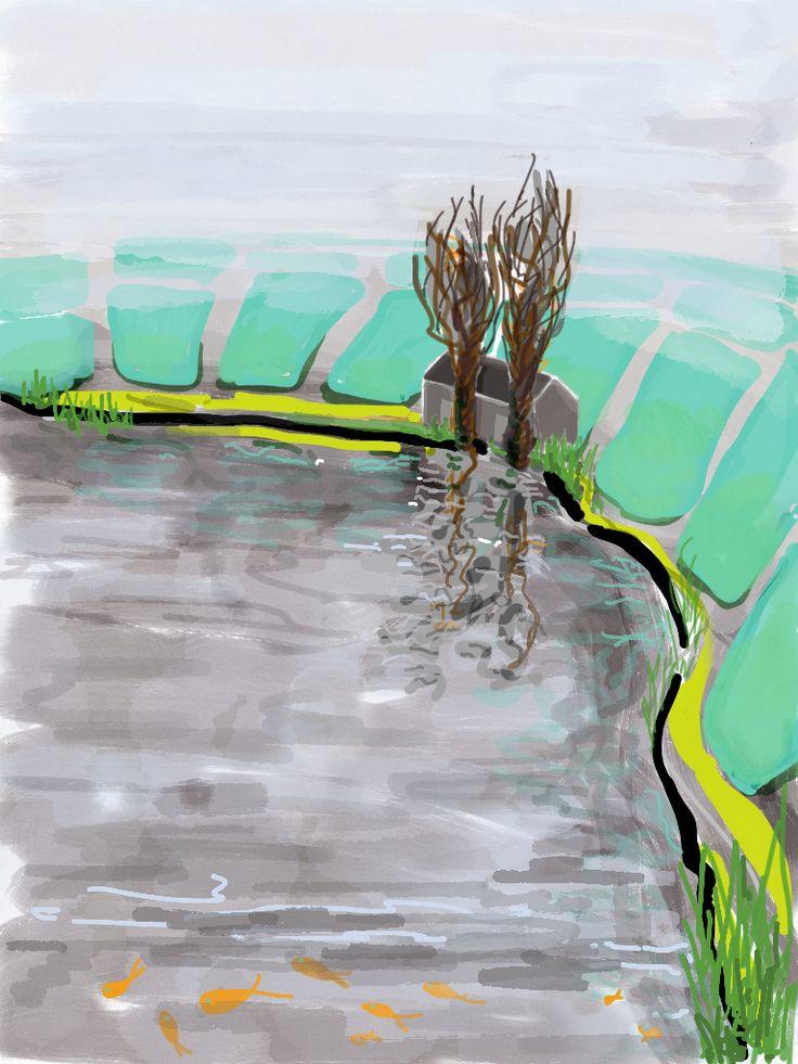 House, Amstel river, bocht #ipaddrawing