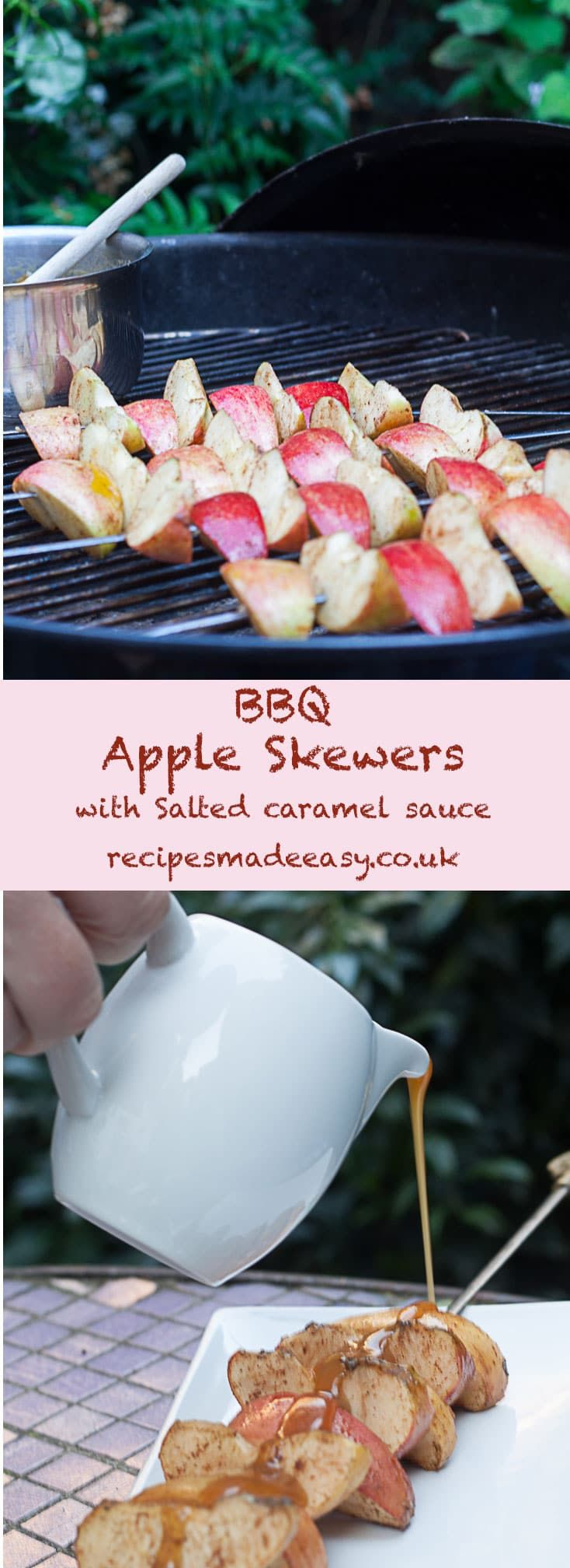 BBQ Apple Skewers with Salted Caramel Sauce - by Recipes Made Easy. Finish your barbecue meal with these easy to prepare and quick to cook apple skewers.  via @jacdotbee