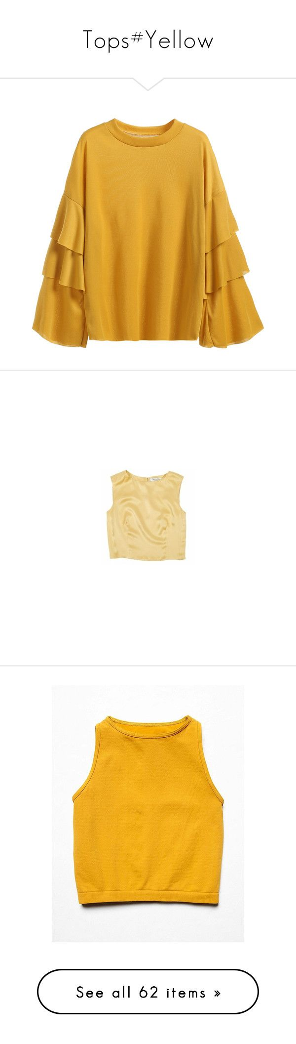 """""""Tops#Yellow"""" by yyvonne881038 ❤ liked on Polyvore featuring tops, t-shirts, yellow, long sleeve stretch tee, flounce tops, embellished t shirts, long sleeve tops, stretch t shirt, christian dior and beige silk top"""