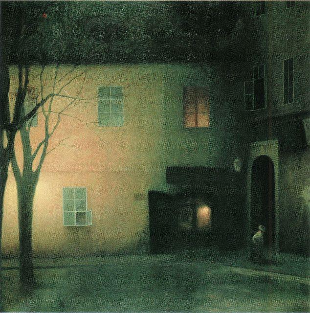 Jakub Schikaneder (1855-1924). Evening in Týnská Lane, 1909