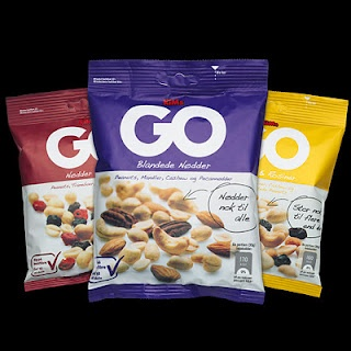 Design for new bigger bags of the GO nuts. Art Director Anna Just graphic design me