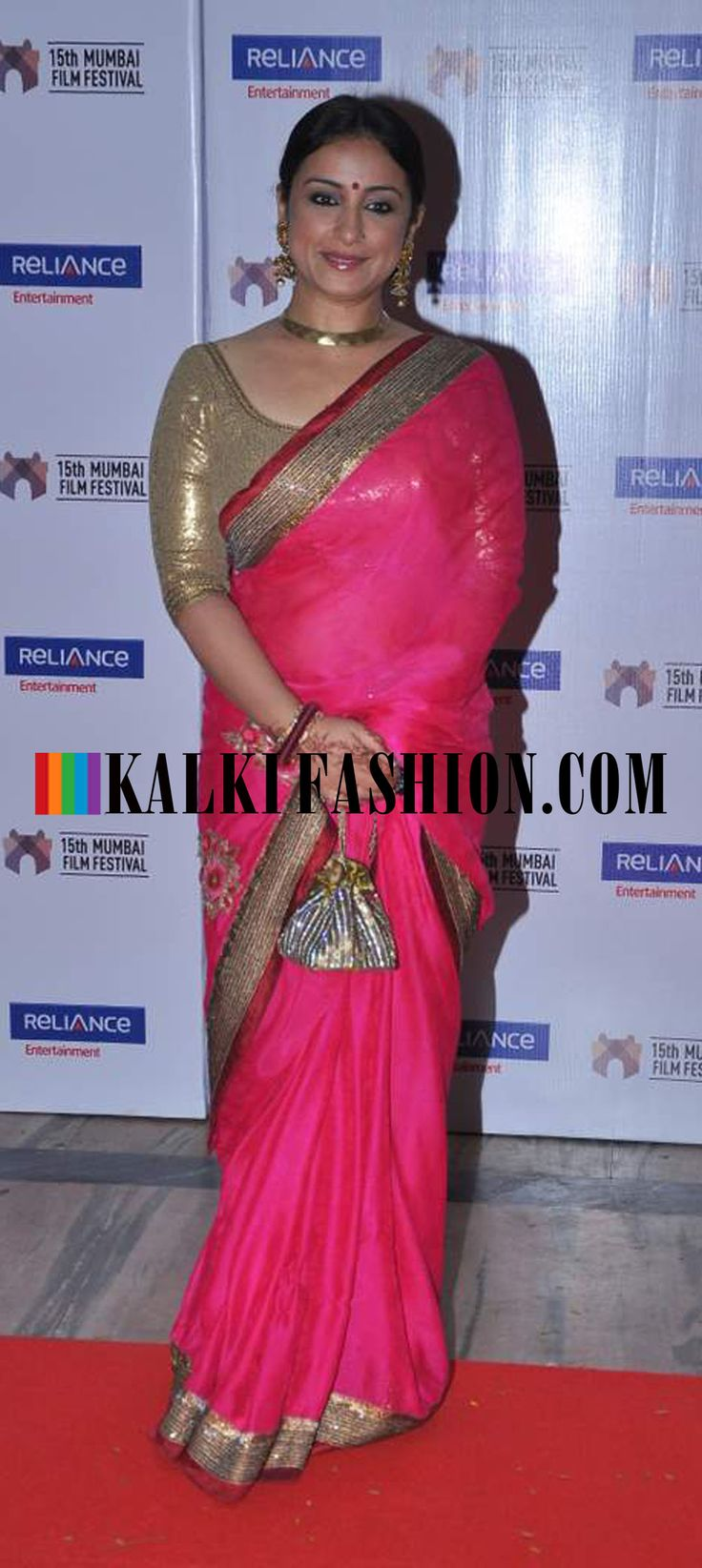 http://www.kalkifashion.com/  Divya Dutta going the traditional way in pink saree at 15th Mumbai Film festival closing ceremony