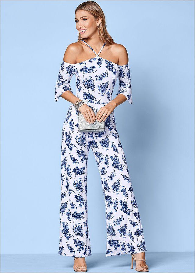 Kombinezon Z Nadrukiem Bialo Niebieski W Kwiaty Bonprix Sklep Venus Clothing Jumpsuits For Women Fashion
