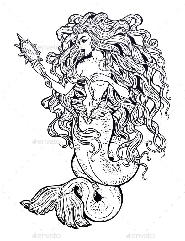 Beautiful Mermaid Girl With Fairytale Magic Mirror Graceful Ocean