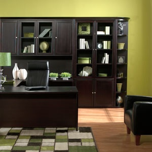 Green Colored Office With Espresso Furniture For The Home Pinterest Decor And