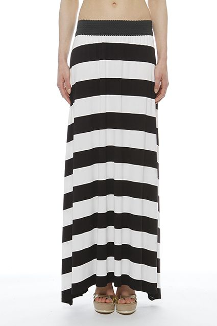 Comfortable and impressive long skirt viscose thanks to broad stripes and ends the sideParticular detail the wide waistband