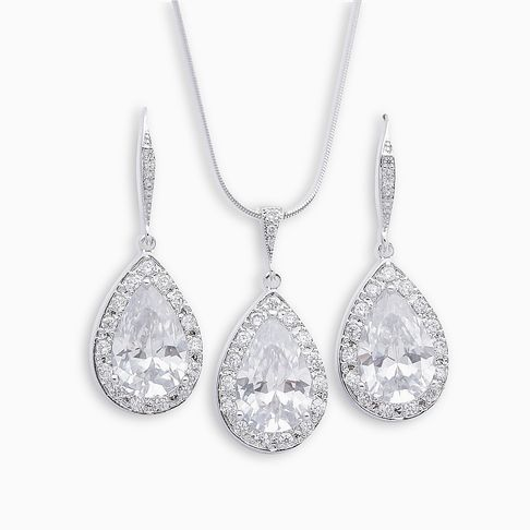 Crystal Wedding Jewellery Set for Brides of Dangle Earrings and Pendant Necklace