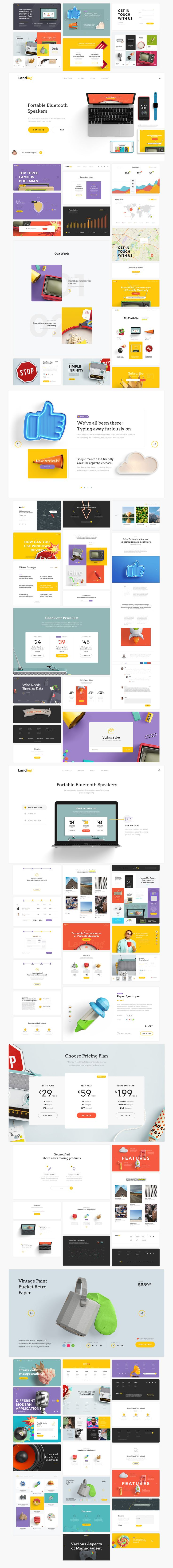 Free UI kit for creating beautiful landing pages. Works with Photoshop and Sketch