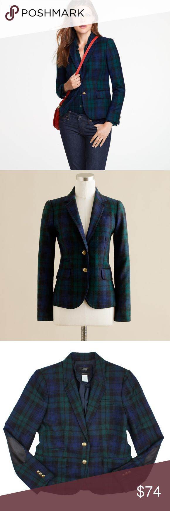 "JCREW Schoolboy Blazer Jacket in Blackwatch Tartan Size - 6  This black watch tartan plaid (a navy blue, dark green and black plaid) schoolboy blazer from JCREW is in excellent condition. It features gold toned button closures, front pockets and black leather-like elbow patches. Fully lined.  100% Wool.  Measures: Bust: 38"" Total Length: 23"" Sleeves: 24"" J. Crew Jackets & Coats Blazers"
