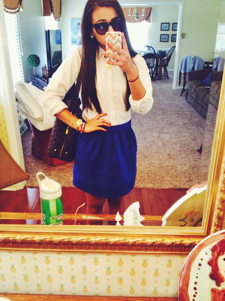 Blue tulip skirt and white polo button down