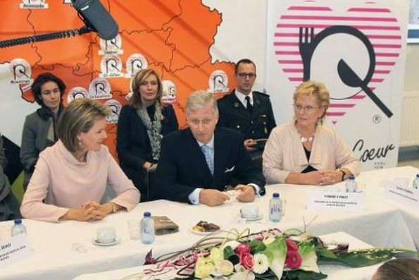 "King Philippe and Queen Mathilde of Belgium visited the charity organization ""Resto du Coeur"" in Charleroi on December 15, 2015."