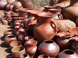 Traditional venda patterns on pottery made by local tribes in the area