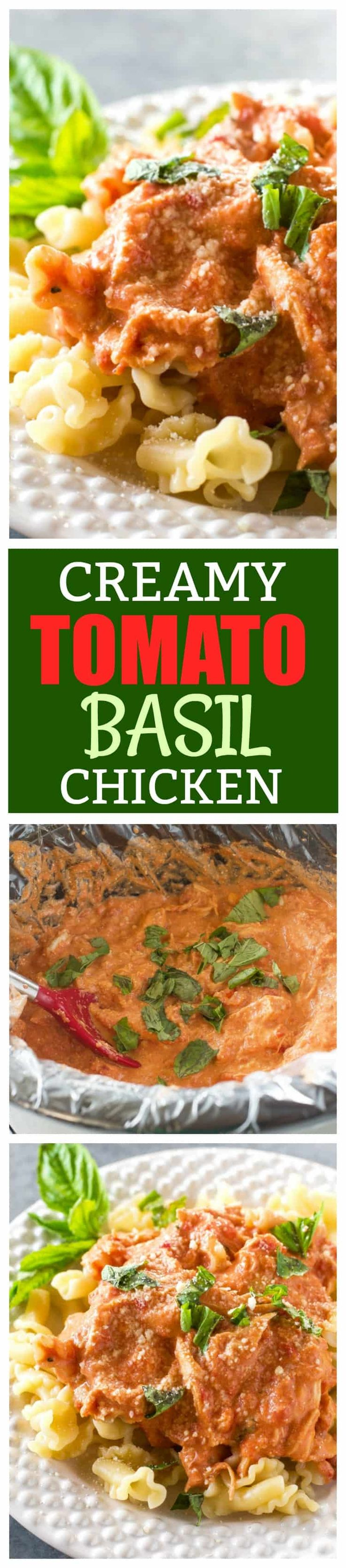 Creamy Tomato Basil Chicken - made in the slow cooker and served over pasta for an easy weeknight dinner. @Reynoldswrap the-girl-who-ate-everything.com