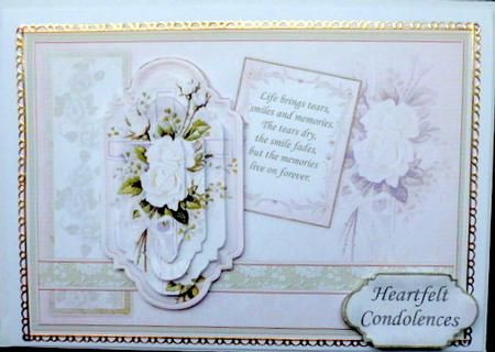 SYMPATHY Vintage Cross Roses Quick Card on Craftsuprint designed by Janet Briggs - made by Mary Murphy