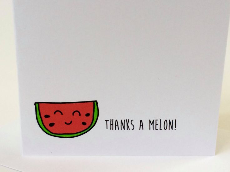 Thank You Cards, Watermelon Thank You Cards, Watermelon Pun, Thanks a Melon, made on recycled paper, comes with envelope and seal by ladybugonaleaf on Etsy #pun #watermelonpun #doodle #watermelon