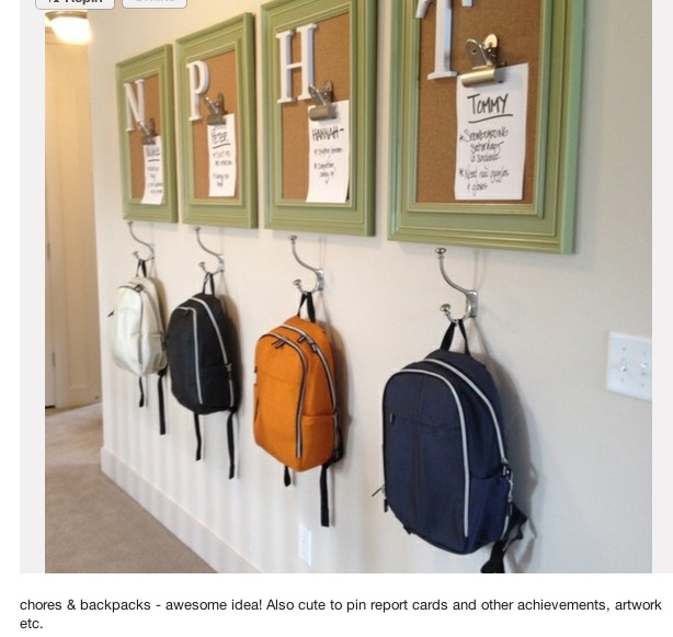 cork board with alphabet bag hanger time table project reminders etc