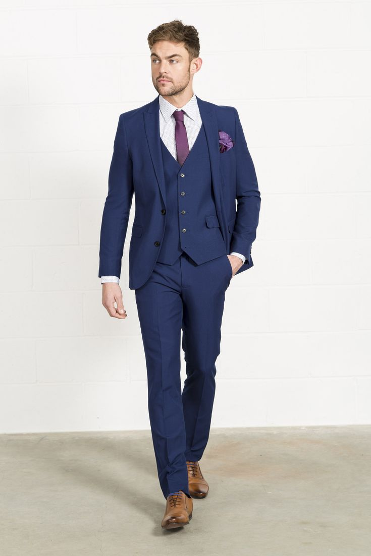 HARRY BROWN Slim Fit Three Piece Blue Suit // Slater Menswear