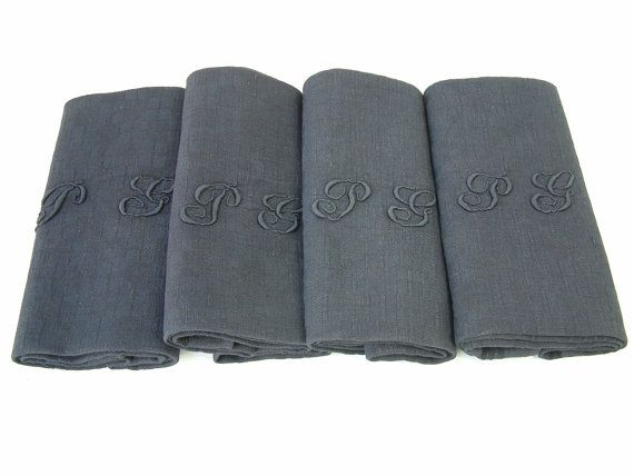 Set of 4 french vintage monogram linen dinner napkins hand dyed charcoal grey. Initials PG. Housewarming gift . Wedding. Upcycled