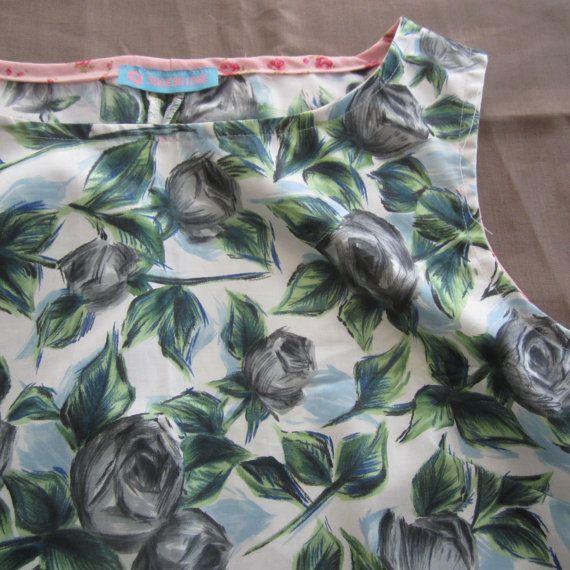 Blue & Grey Roses Polished Cotton Blouse by byShoebridge on Etsy