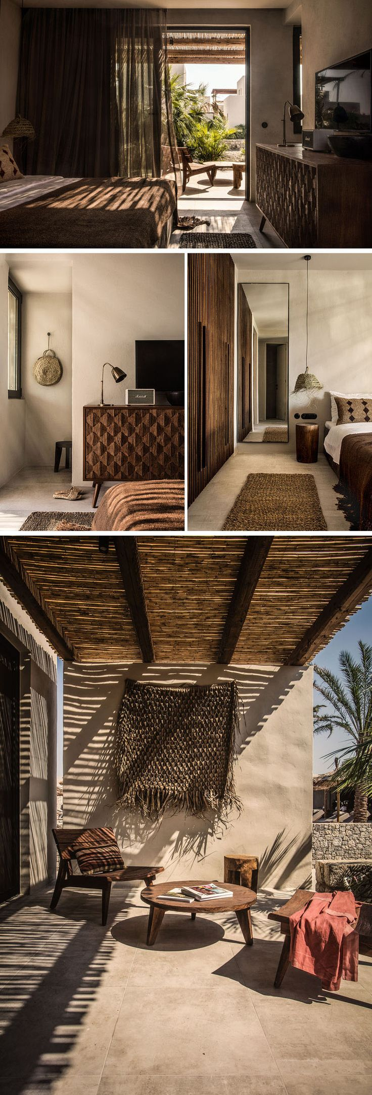 Each room and villa throughout this contemporary Greece hotel have access to a private veranda or terrace. #HotelRoom #Hotel #Greece #InteriorDesign