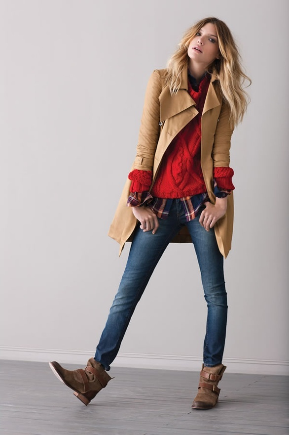 Red sweater with plaid button down, jeans and ankle boots