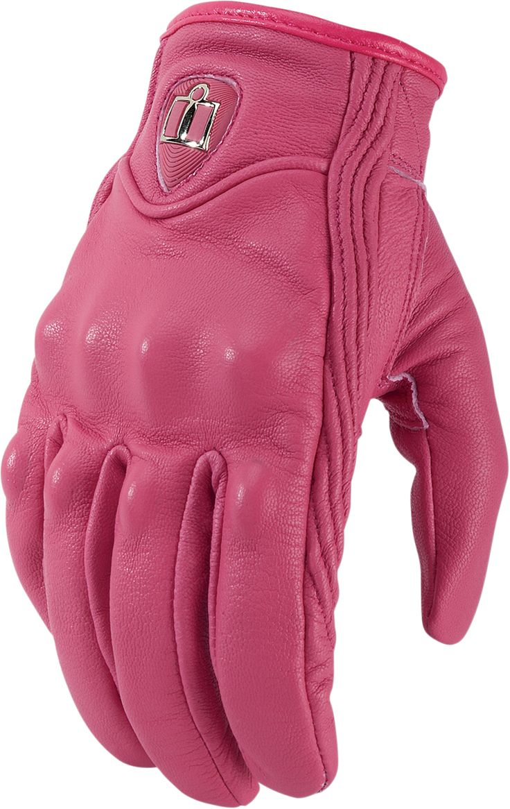 Icon justice leather motorcycle gloves - Icon Pink Pursuit Non Perf Womens Gloves