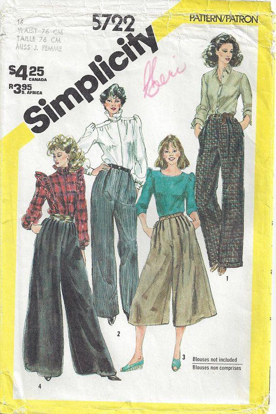 cb0f926c557c 1980s Misses  Culottes High Waist Pleated Palazzo Pants Cuffed Wide ...