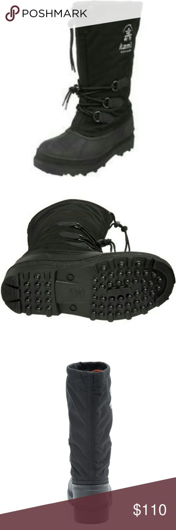 """Coming Soon FEATURES Waterproof 1000 denier nylon upper Seam sealed waterproof construction Removable 8mm Zylex liner Moisture-wicking lining Lace lock snow collar Adjustable midfoot laces Waterproof and flexible rubber shell Kamik?s SNOWBOB rubber winter outsole  CONSTRUCTION Rubber, nylon upper Zylex liner Rubber outsole SHOE DETAILS Round toe Lace-up closure Padded footbed Approx Shaft height 13.5"""" Approx Shaft width 18"""" Kamik Shoes Winter & Rain Boots"""