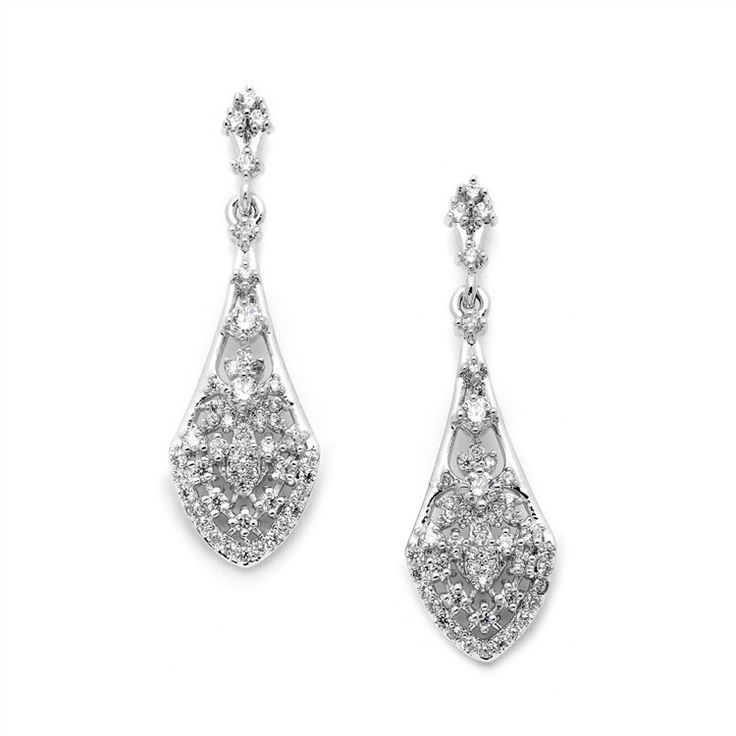 Intricate Vintage Bridal Earrings with Pave CZ Dangles