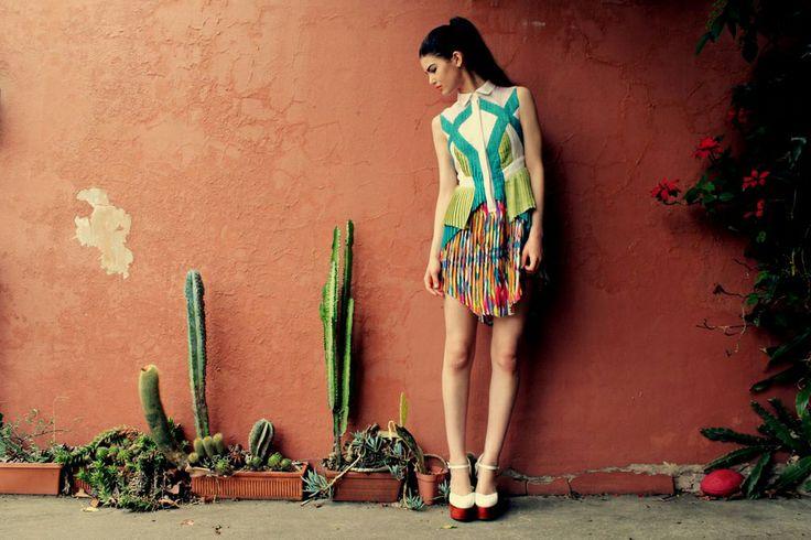 Pleated Layer Dress  Warped geometric Print     Designer: Laura Nadile Photographer : Joshua Bouman  Model : Amy Shapiro