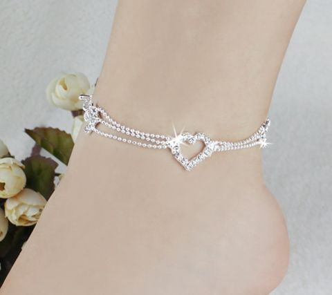 Silver Plated Beaded Heart Anklet