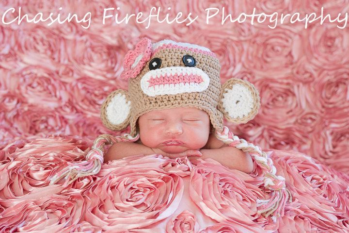 Pink Sock  Monkey Hat Crochet Photogrpahy Prop Newborn to Toddler sizing. $21.00, via Etsy.