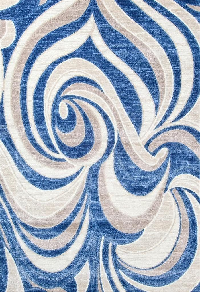 Blue Gray Abstract Modern Contemporary Clearance Area Rugs 5x8 8x11 - Bargain Area Rugs