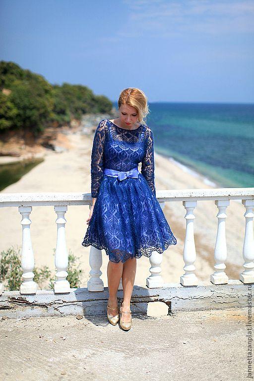 """платье """" Гера"""" - тёмно-синий,однотонный,вязаное платье,ручная работа,мохер с шелком"""