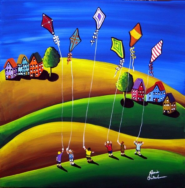 Kite Fliers KIDS Fun Spring Folk Art Painting