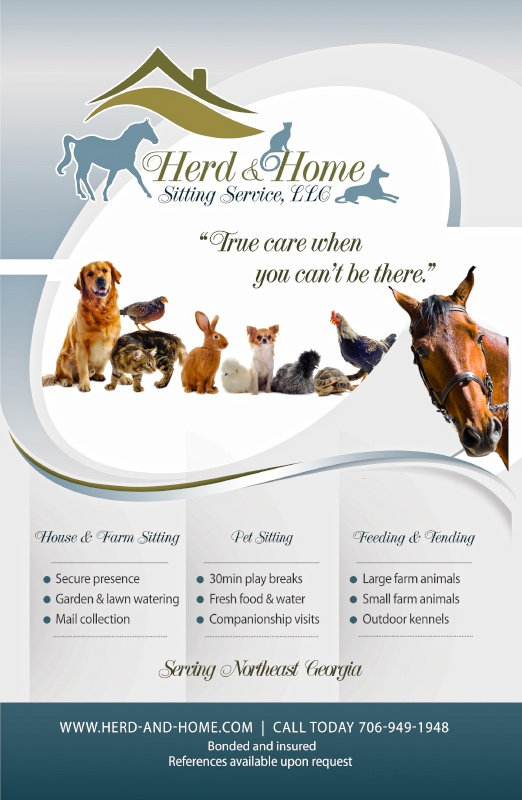 Flyer Design for local pet sitting company. #pet #services #design #ads #flyers #graphicdesign
