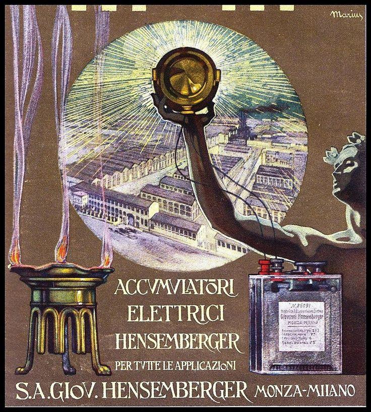 PUBBLICITA' 1914 HENSEMBERGER ACCUMULATORI ELETTRICI BATTERIE MONZA STABILIMENTO