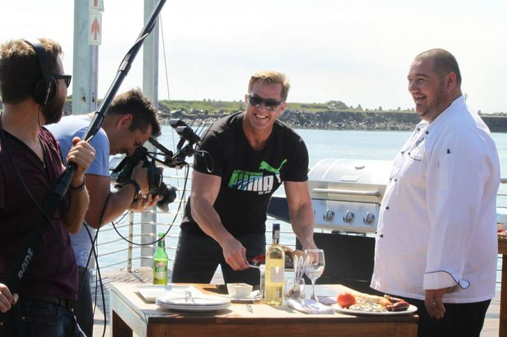 Percy and Chef Adrian enjoying a laugh on set